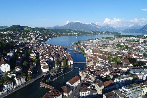 City, Sea, Panorama, Waters, Lucerne, Lucern