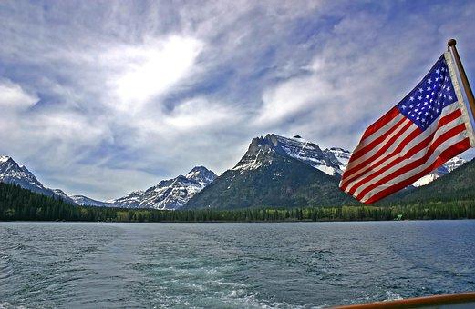 Travel, Waters, Mountain, Sky, Nature, Flag, Usa
