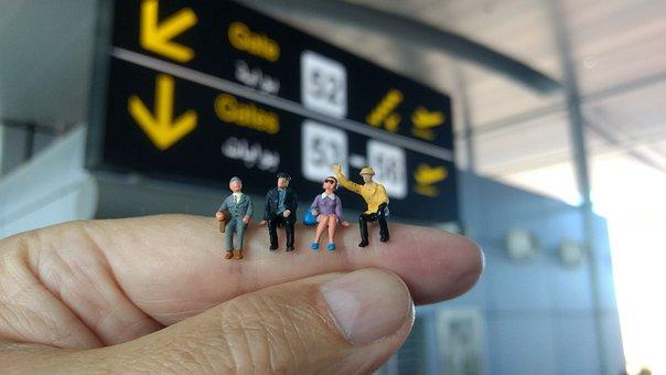 Airport, Departure, Miniature Figures, Wait, Leisure