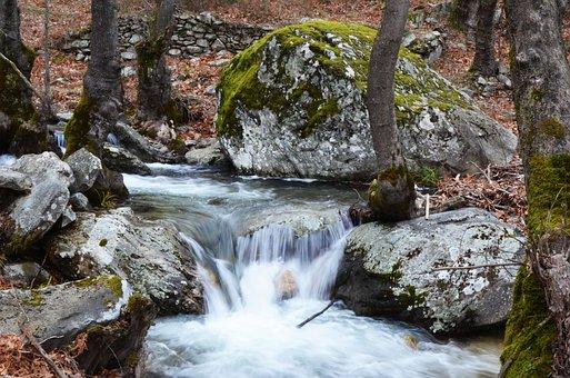 Falling Water, Rocks, Moss, Cascade, Cascading
