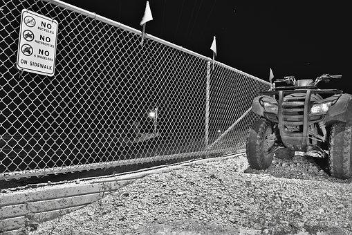 Chain Link Fence, Quad, Sign, Black And White, Vehicle