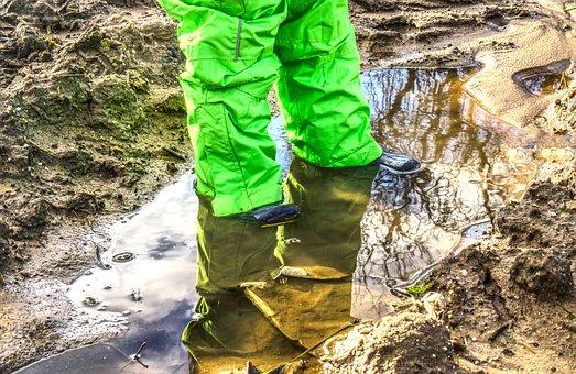 Puddle, Feet, Legs, Small Child, Child, Rain Pants