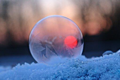 Frost Globe, Soap Bubble, Frozen Bubble, Frozen, Snow