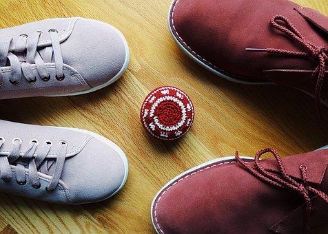 Hackey Sack, Footbag, Shoe, Foot, Couple Together