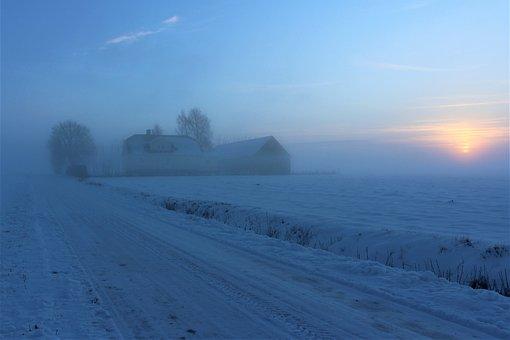Mist, Hazy, Winter, Snow, Frost, Nature, Ice, Sunset
