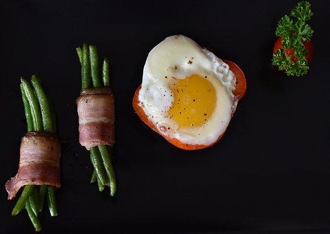 Egg, Bacon, Bean Pods, Eggs, Food, Salty, Vegetables