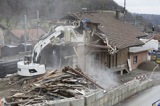 Demolition, Crash, Excavators, Site, Home, Debris