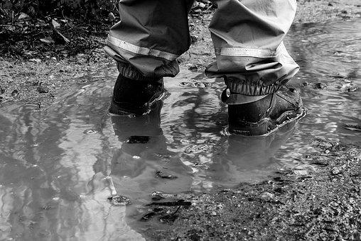 Puddle, Feet, Legs, Small Child, Child, Rain Pants