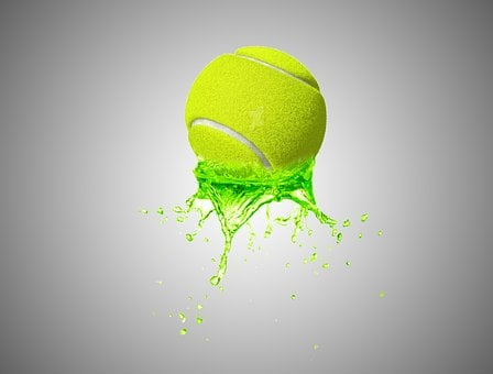 Tennis Ball, Ball, Wet, Splash
