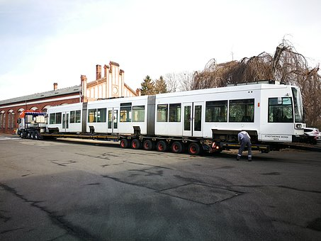 Tram Car, öpnv, Low-bed Trailer, The Second Position