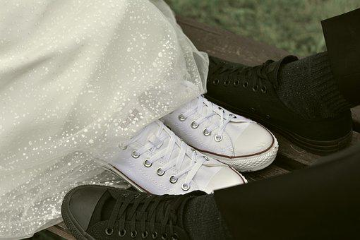 Bride And Groom, Chuck's, Sneaker, Pair, Together