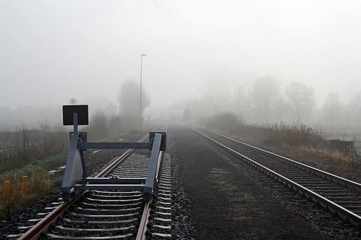 Railway, Transport System, Railway Line, Fog