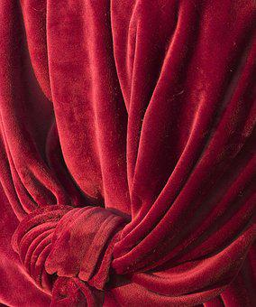Curtain, Fabric, Textile, Knot, Velvety, Red, Blanket
