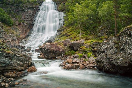 Waters, Waterfall, River, Nature, Norway, Long Exposure