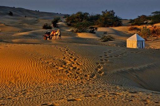 Sand, Desert, Dry, Travel, Caravan, Camel, Pavilion