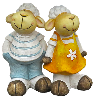 Sheep, Pair, Figure, Ceramic, Sculpture