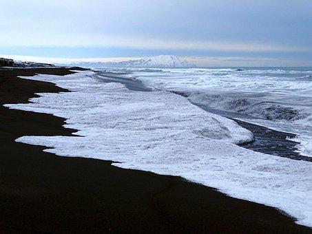 Ocean, Sea, Coast, Beach, Wave, Winter, Frost, Cold