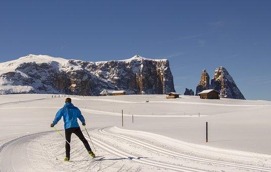Cross Country Skiing, Skatin, Seiser Alm, Snow, Winter