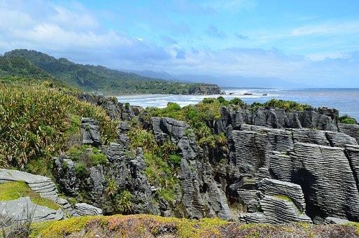 Nature, Sky, Water, Sea, Pancake Rocks, Punakaiki