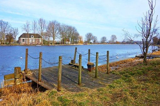 River, Water, Jetty, River Bank, Farmhouse, Stream