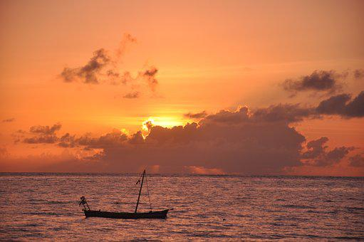 Sunset, Water, Sea, Dawn, Dusk, Boat, Sunrise