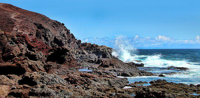 Surf, Sea, Coast, Wave, Volcano, Beach, Nature, Waters