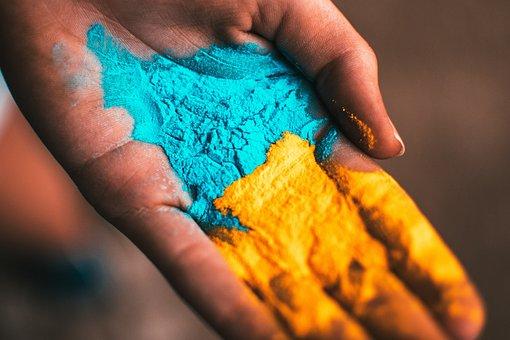 Holi, Hand, Color, Powder, Blue, Yellow