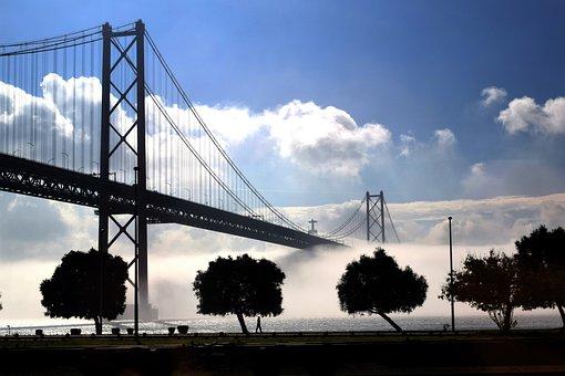 Bridge, Sky, Suspension Bridge, River, River Tagus