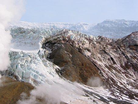 Volcano, Crater, Glacier, Ice, Fumarole, Sulfur, Gas