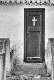 Door, Chapel, Greece, Old Wood, Weathered