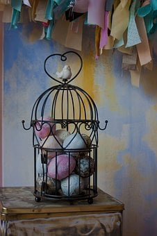 No One, House, Inside, Room, Bird Cage, Easter, Eggs