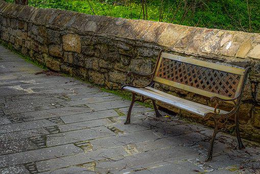 Bench, Wooden, Old, Park, Vintage, Stone, Wall