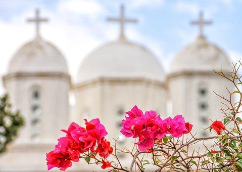 Church, Greece, Peloponnese, Bougainvillea, Monastery