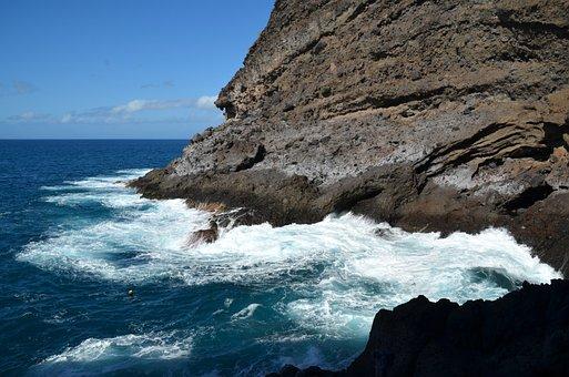 Sea, Nature, Coast, Surf, Rock, Beach, Sky, Lapped
