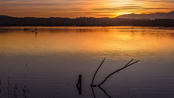 Sunset, Waters, Lake, Nature, Outdoors, Panoramic, Sky
