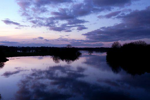 Waters, Reflection, Sunset, Dusk, Shannon, Violet
