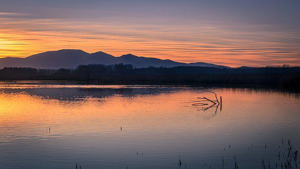 Sunset, Waters, Nature, Lake, Sky, Italy, Tuscany
