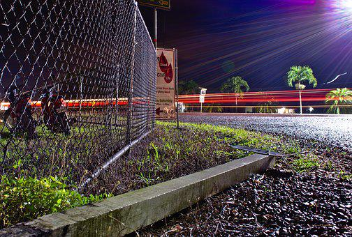 Fence, Sign, Industry, Road, Long Exposure, Light