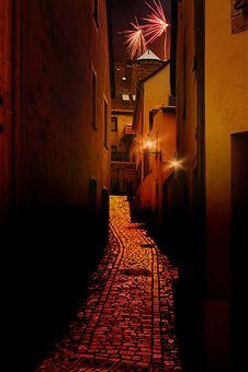 Night, Dark, Alley, Away, Sidewalk, Road, Light