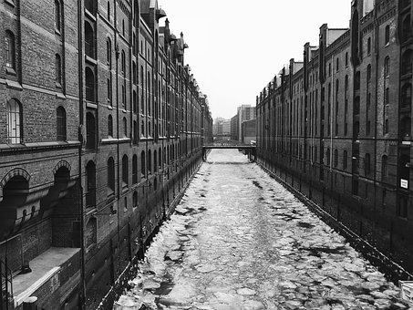 Port, Elbe, Hamburg, Water, Speicherstadt, Winter