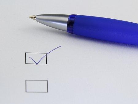 Office, Selection, Write, Paper, Ankreuzen, Done, Pen