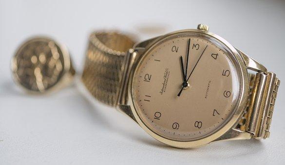 Clock, Golden, Background, Wrist Watch