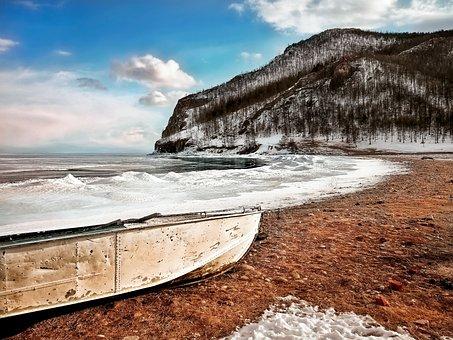 Waters, Sea, Coast, Nature, Ocean, Boot, Winter, Frozen