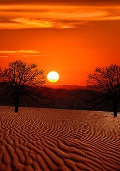Sunset, Dawn, Evening, Desert, Dusk, Outdoors, Travel
