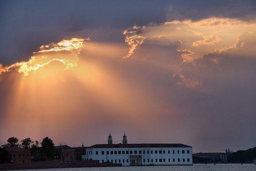 Sunset, Sky, Waters, Sun, Venice, Dusk, Bank