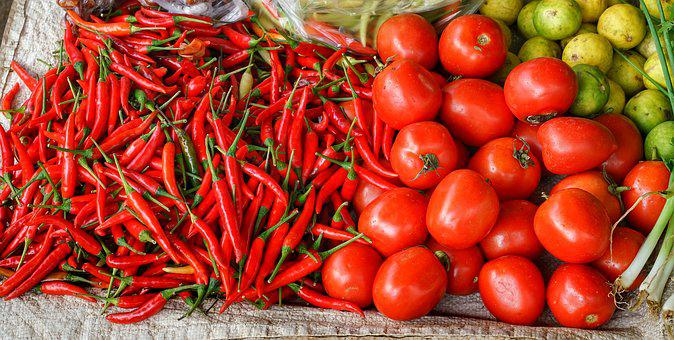 Chillies, Tomatoes, Red, Fruit, Spices, Cooking, Market