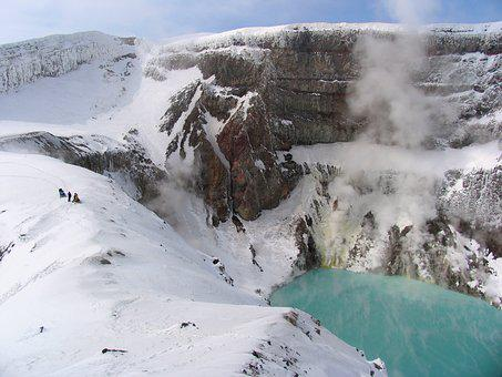 Gorely Volcano, Crater, Kamchatka, Acid Lake, Snow