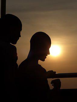 Silhouette, Backlit, People, Sunset, Man