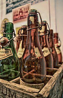 Old, Bottles, Wooden Box, Glass, Brown, Green