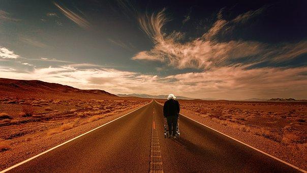Sky, Desert, Road, Grandma, Rollator, Panorama, Nature